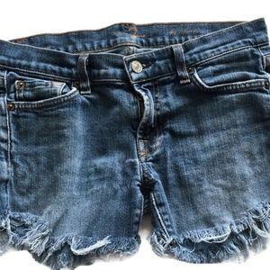 7 For All Mankind Cut Off Frayed Denim Shorts-28